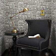 50-634 Graham and Brown Eccentric Tudor Houses Black Art White Feature Wallpaper