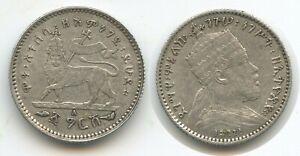 G1459 - Ethiopia 1 Gersh EE1895 A (1902-03) KM#12 Silver VF-XF Äthiopien