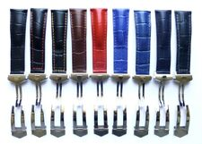 22mm Genuine Leather Watch Band Strap with Deployment Clasp for Monaco Tag Heuer