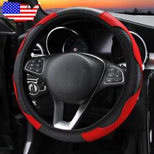 Black/Red Car SUV Microfiber Leather Steering Wheel Covers 38cm/15'' Universal