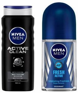 NIVEA Shower Gel, Active Clean, Men, 500ML + men Roll-On, Fresh active, 50ML