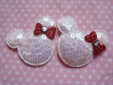 10 x 1.5 INCH WHITE + RED SEQUIN MINNIE MICKEY MOUSE APPLIQUE HEADBAND HAIR BOW