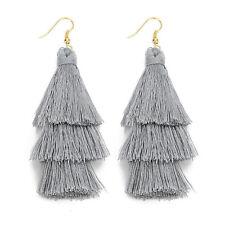 Fashion Charm Crystal Silk Tassel 3 Layers Fan Fringe Dangle Earrings Bohemian