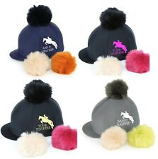 PERSONALISED Riding Skull Hat Silk Cover SWITCH IT Pom Pom Horse Show Jumper