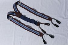 Brooks Brothers Men's Blue & Burgundy Striped Suspenders Adjustable Braces