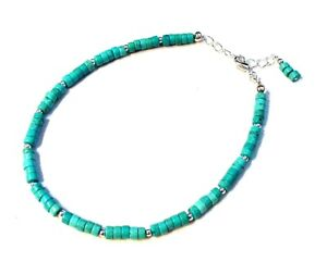 Gorgeous Sterling Silver Turquoise Heishi Ankle Bracelet Anklet F19