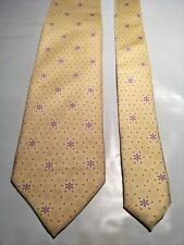 Tie Rack Men's Silk Tie in Yellow with a Purple Floral Geometric Pattern