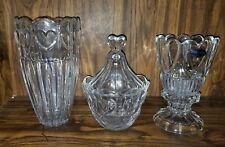 DePloma Toscany  Lead Crystal Heart Hurricane Candle Holder Candy Dish  Vase Set