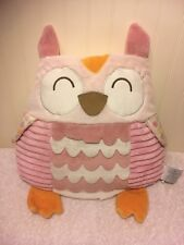 "Nat & Jules Plush Owl Stuffed Bed Throw Pillow Pink White Toy 15"" Bird Nature"