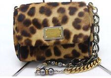 AUTHENTIC DOLCE & GABBANA D&G Calf Leather Leopard Pochette Shoulder Bag Brown
