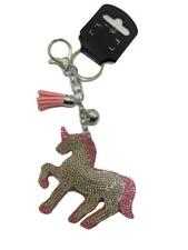 New Large Crystal Full Unicorn Pink Padded Fabric Silver Metal Bag Charm Keyring