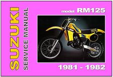 SUZUKI Workshop Manual RM125 1981 and 1982 VMX Service and Repair RM125X RM125Z
