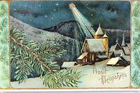 16820 Ak Kitsch Noche Luz de Estrellas Iglesia Nieve Dorf en Relieve Rama um1913