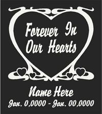 "Forever In Our Hearts Personalized Decal/Sticker 6.5""H"
