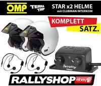 OMP STAR Helme x 2, Intercom Clubman Jethelm mit Gegensprechanlage KOMPLETT-SET