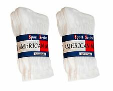 $averPak American Made Cotton Blend Crew Socks 6 Pair White (Size 10-13)