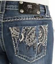 MISS ME JEANS SALE BUCKLE Low Rise Embroidered Boot Stretch Jean 30 X 34