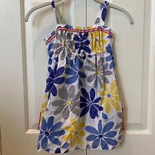 Mini Boden Kids Girls Dress 7-8 Y Dress Floral Maxi Yellow Grey Blue