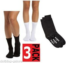 BONDS WOMENS OXFORD CREW COTTON SOCKS BLACK WHITE 3 PAIRS PACK SIZE 2-8 8-11