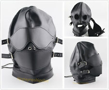 FACE EYES BACK HARNESS MOUTH BLOCK BALL PVC LEATHER FULL HOOD MASK BLINDFOLD