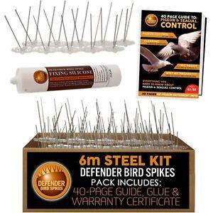 Defender Stainless Steel Bird Spikes & Pigeon Spikes   6 m   Glue   Bird Guide