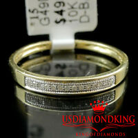 10k Yellow Gold Women's Ladies Genuine Real Diamond 2.5mm Wedding Band Ring Pave