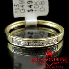 10k Yellow Gold Women's Ladies Genuine Real Diamond 2.5mm Wedding Band Ring Pave