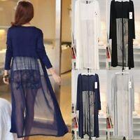 UK Women Boho Chiffon Splice Long Maxi Open Cardigan Shirt Jacket Kimono Coat