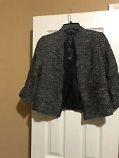 PP $398 EILEEN FISHER BLACK TWEEDY COTTON,  SHORT JACKET W / LEATHER TRIM