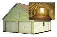 Two Car Garage Plans With Loft DIY Backyard Shed Building 24' x 24'