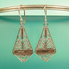 "1 1/4"" 925 Sterling Silver Filigree Dangle/Drop Handmade Earrings"
