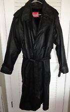 HIND mens double breasted lined full length leather trench coat size 40 L NICE!