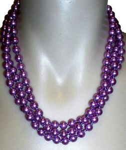 LONG PEARL STRAND NECKLACE 'PURPLE'