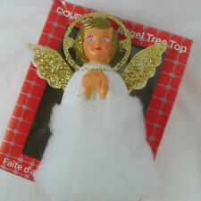 Doublglo Angel Tree Top Figure Hard Plastic Gold Glitter White Gown 1970s