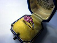 A Really Beautiful 9ct White Gold Pink Topaz & Diamond Ladies Cluster Ring K1/2