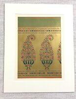 1857 Antico Stampa Persiano Ricamo Stampa Tessuto Design Verde Dorato Textiles