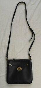 Ralph Lauren Women's Black Pebble Faux Leather Shoulder Bag Used Condition