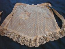 Vintage Edwardian Antique Apron CHENILLE DOTS Lace RIBBON Cotton GC S