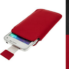 Red Leather Skin Pouch for Samsung Galaxy S5 MINI SM-G800 Pull Tab Case Cover