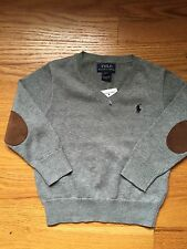 Polo Ralph Lauren Baby Boy 2T V-neck Sweater Gray NWT Free Shipping