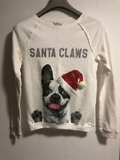 H&M Kids Girls Christmas Cute Puppy Frenchie White Sweater, Size 14