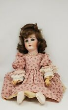 "Antique 17"" German Bisque Jointed Doll-Mohair Wig-Glass Eyes, Open Mouth-Ae"