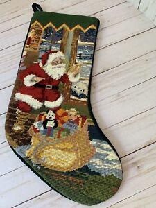 """Needlepoint Christmas Stocking Santa St. Nick Christmas Eve 17"""" Green Velvet"""