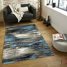 Rugs Area Rug 8x10 Abstract Contemporary Modern Design Mixed Brush Blue Grey