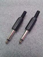 "1 x PAIR - Mono 1/4"" Quarter Inch (6.35mm) Jack Plug Connector - TS"