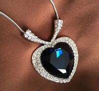 Herzkette Halskette Titanic Herz mit SWAROVSKI Kristallen 18K Wei?gold vergoldet