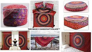 Mandala Full Room Set With Tapestry,Duvet Cover,Floor Pillows,Ottoman,