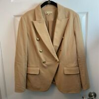DG2 By Diane Gilman Womens Double Breasted Suit Jacket Beige Stretch Blazer M