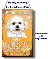 PERSONALISED Bichon Frise Dog Breed Plaque Sign gift wall door vintage style