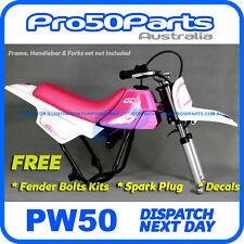 Yamaha PW50 Peewee 1985-2016 White Pink Fender Cover+ Pink Tank & Seat + FREEBIE